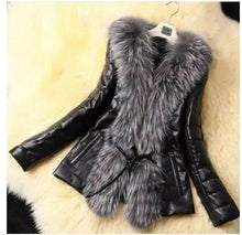 Leather Stitching Faux Fox Fur Coat - Veignity