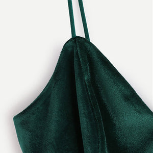 Green Velvet Cami Top - Veignity