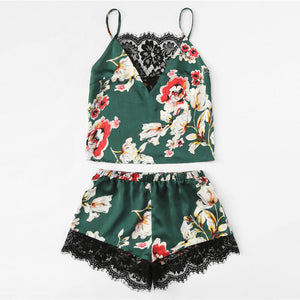 Floral Print Lace Cami Top and Shorts Satin Pajama Set - Veignity