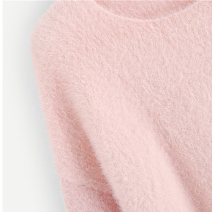 Pink Knitted Casual Sweater - Veignity