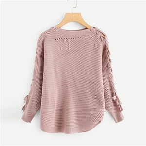 Lace Up Knitted Sweater - Veignity