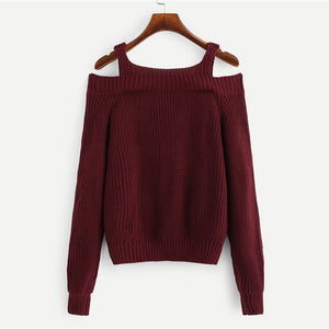 Burgundy Cold Shoulder Straps Knitted Sweater - Veignity