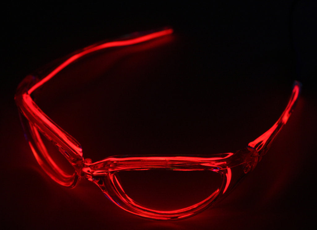 Red Atomic EL Wire Glasses By LyTec® Assorted Color w/ Clear Lenses ...