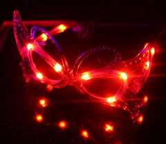 3 Function Mardi Gras LED Eyeglasses - Red