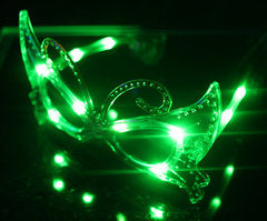 3 Function Mardi Gras LED Eyeglasses - Green