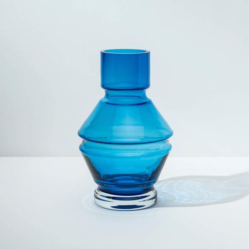 raawii Relæ - Large Glass Vase Vase Aquamarine Blue