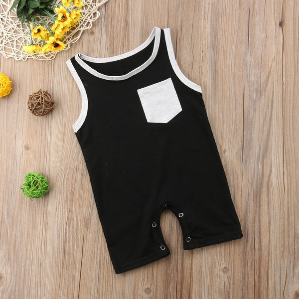 Modern Sleeveless Front Pocket Romper