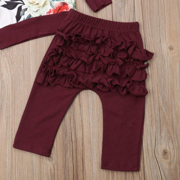 Floral Burgundy Three Piece Outfit