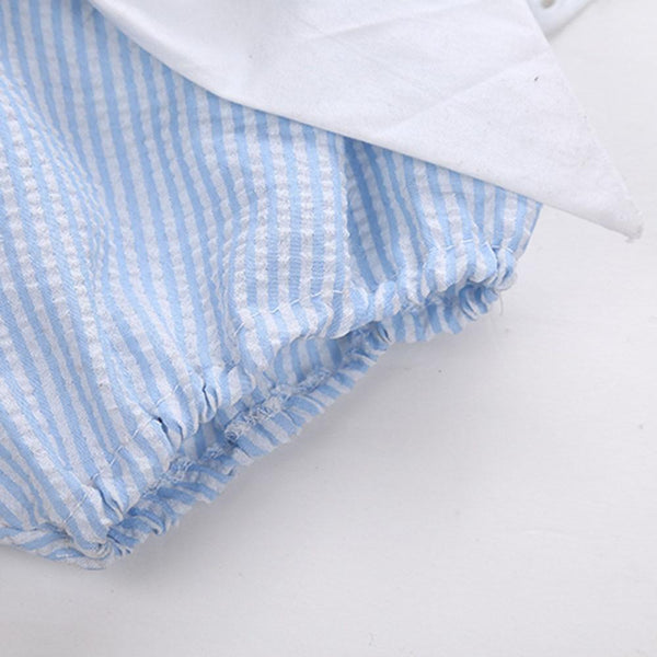 Baby Blue Striped Ruffle 3 Piece Outfit