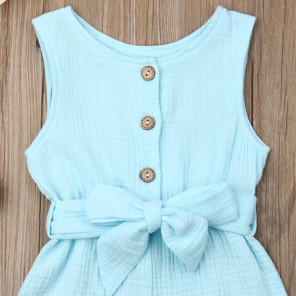Bow Belt Sleeveless Romper