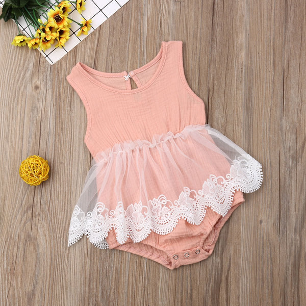 Sleeveless Lace Skirt Romper