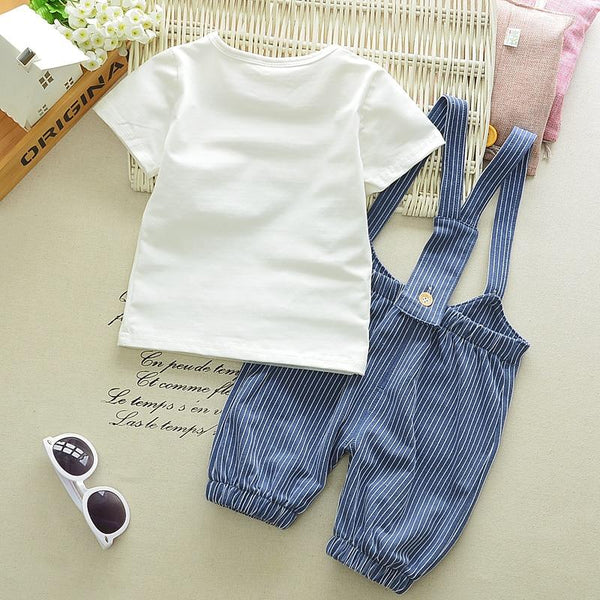 Bonjour 2 Piece T-Shirt & Striped Overalls