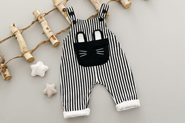 Striped 2 Piece Overalls & T-Shirt