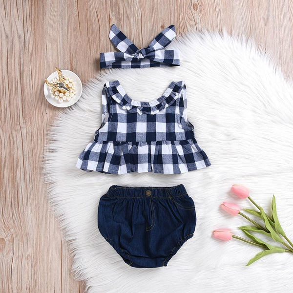 Blue Checkered & Denim Three Piece Outfit