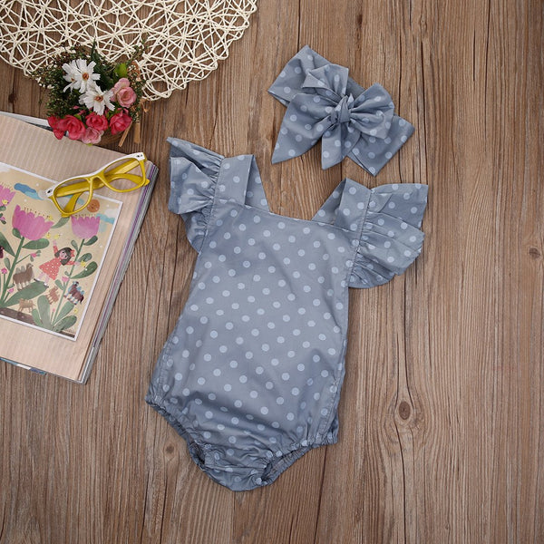 Butterfly Sleeve Polka Dot Jumpsuit & Headband