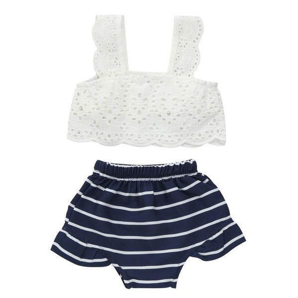 Navy Blue & White Boho 2 Piece Outfit