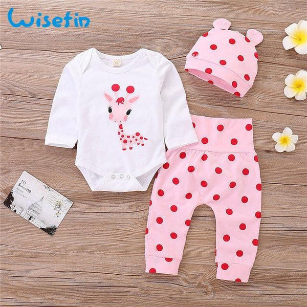 Pink & Red Giraffe Three Piece Outfit