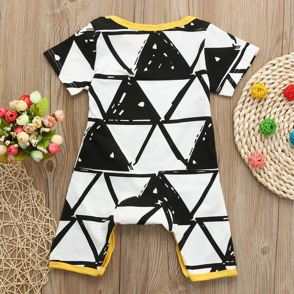 Black & White Triangle Sketch Short Sleeve Jumpsuit