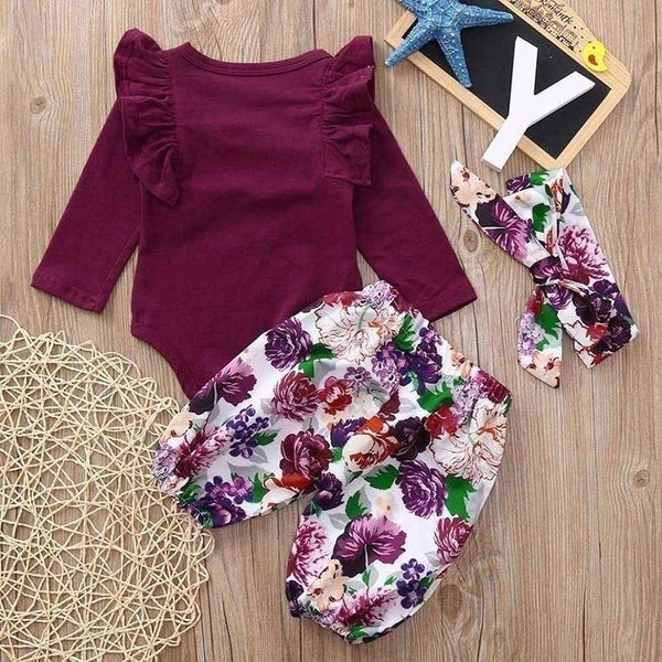 Modern Floral Three Piece Outfit
