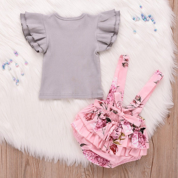 Ruffle Top & Overalls Two Piece Outfit