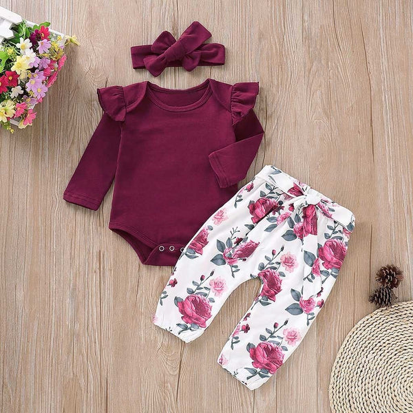 Floral Maroon Three Piece Outfit