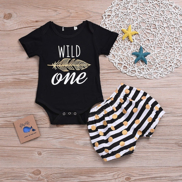 Black & Gold Wild One 2 Piece Outfit