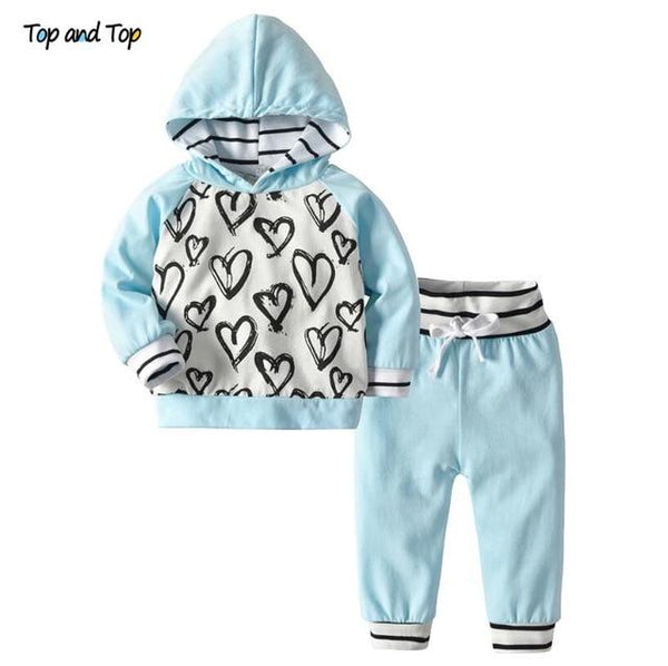 Love Heart Striped Two Piece Hoodie & Pants