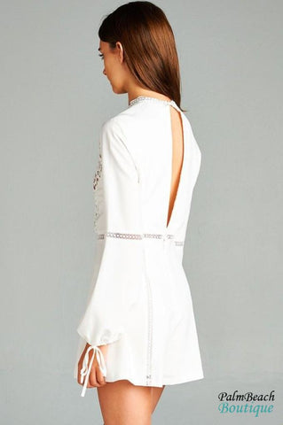 Applique Lace Sleeve Tie Romper - Rompers