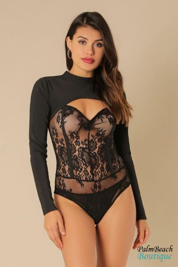 Bandage Lace Bodysuit - Small / Black - Womens Tops