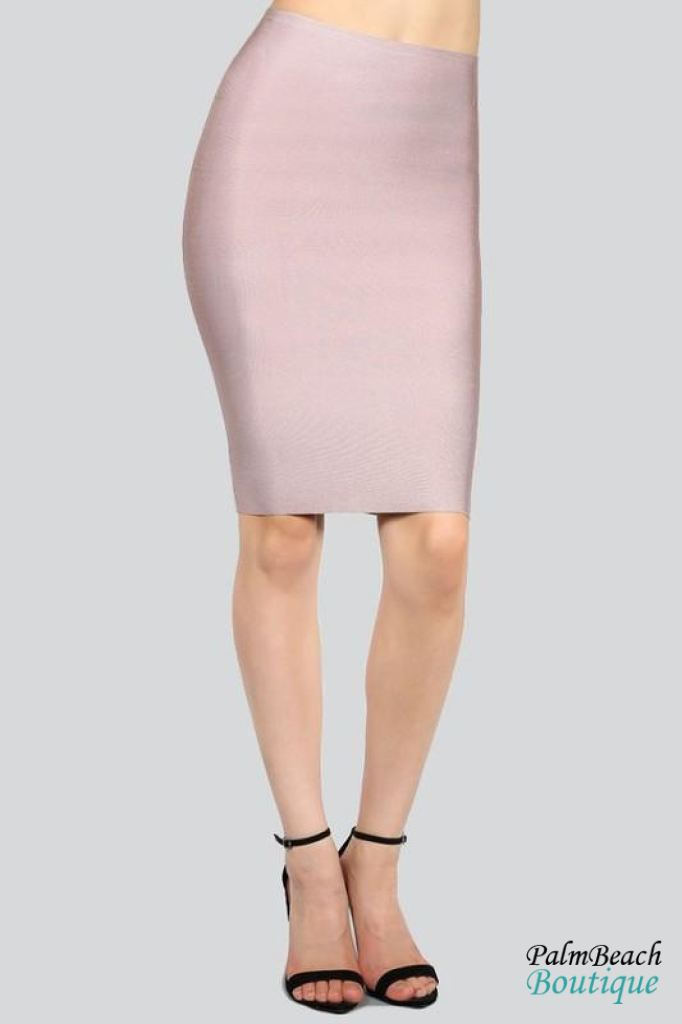 Bandage Luxe Pencil Skirt - Vanilla Ice / Small - Womens Skirts