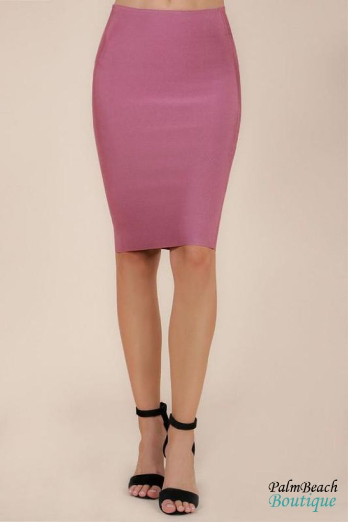 Bandage Pencil Skirt - Hippie Pink / Small - Womens Skirts