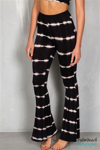 Black And Ivory Two Piece Tie Dye Bohemian Set - 2-Pc Sets