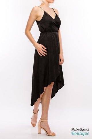 Black Low Wrap Dress - Dresses