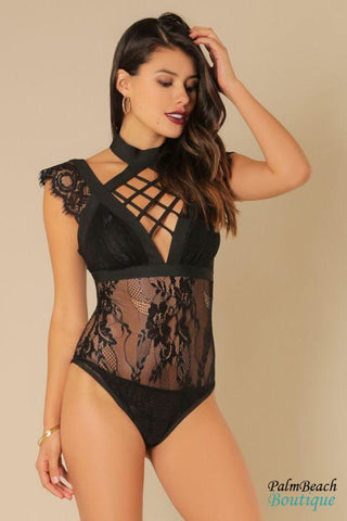 Metallic Fabric Lace-up Front Bodysuit-