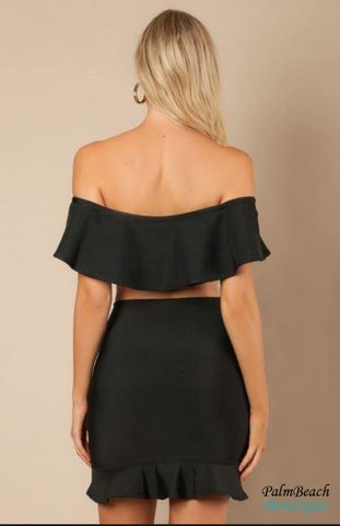 Black Ruffled Off Shoulder Crop-Top - Womens Tops