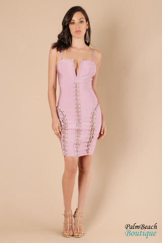 Blush Sharp V-Neck Bandage Dress- - Dresses