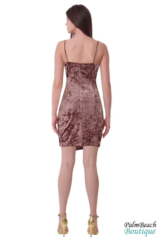 Bodycon Overwrap Velvet Dress - Dresses