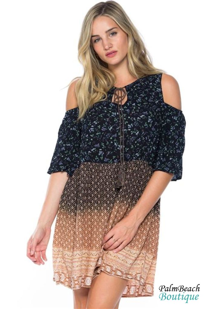 Bohemian Boho Style Navy Camel Cold Shoulder Tie-Up Dress - Womens Dresses