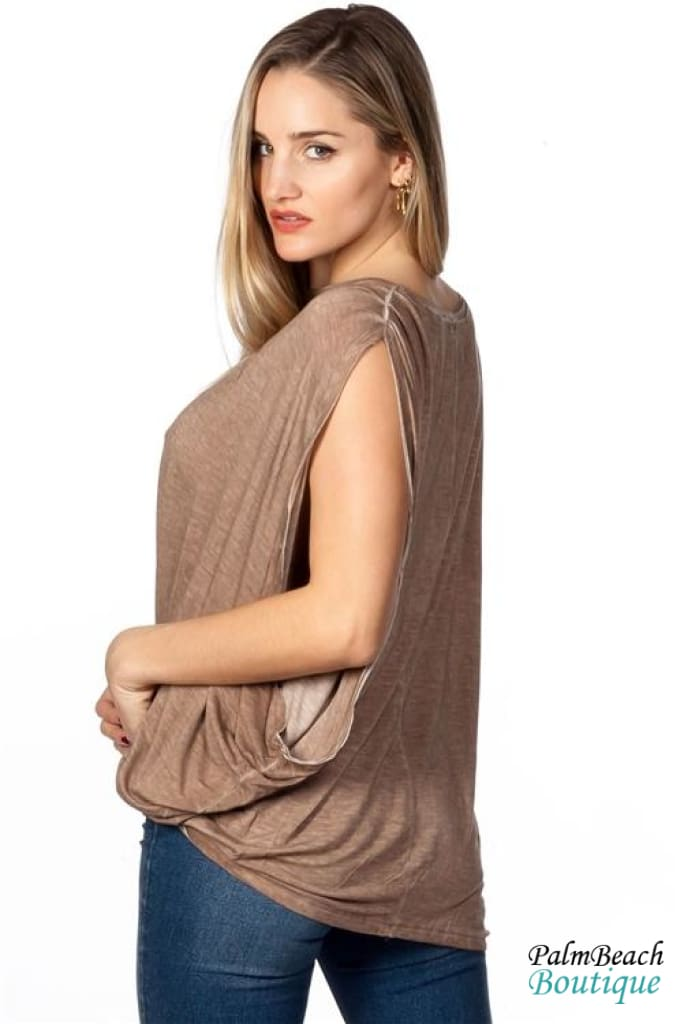 Boho Acid Wash Mocha Drop Armhole Top - Womens Tops
