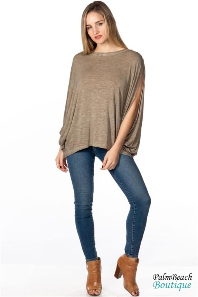 Boho Acid Wash Olive Drop Armhole Top - Womens Tops