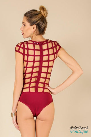 Cap Sleeve Cut-Out Caged Swimwear - Swimwear