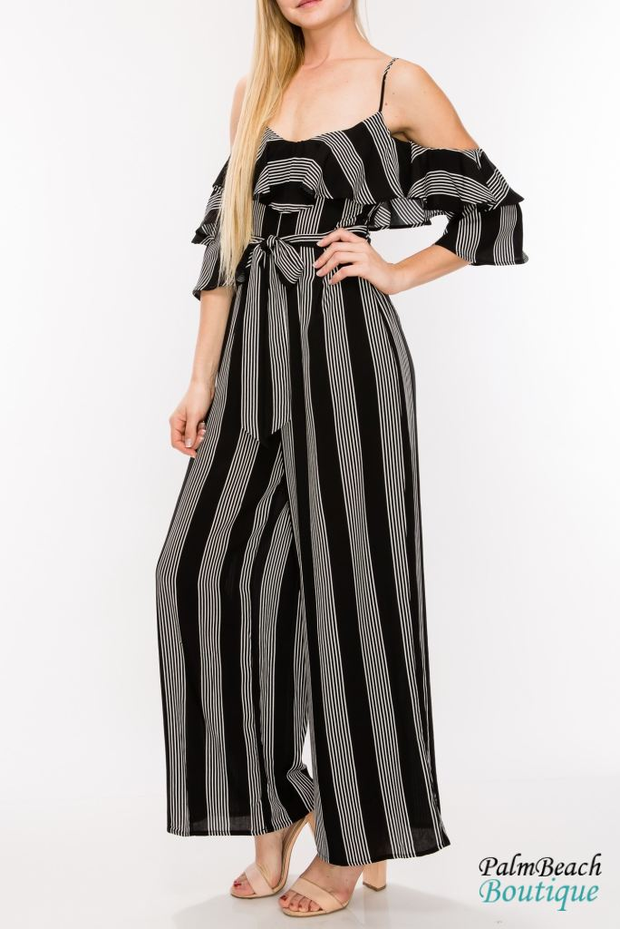 Cold Shoulder Jumpsuit-Black/white - 2-Pc Sets
