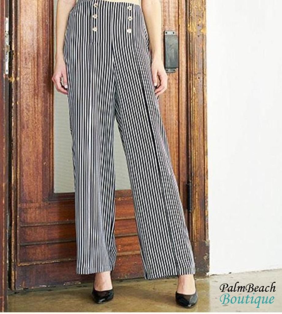 Crepe Stripe Pants - Womens Pants