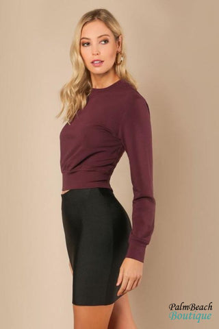 Dark Oak Red Lace-Up Sweater - Sweater