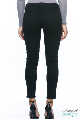 Distressed Black Ankle Cut Skinny Stretch Jeans - Womens Pants