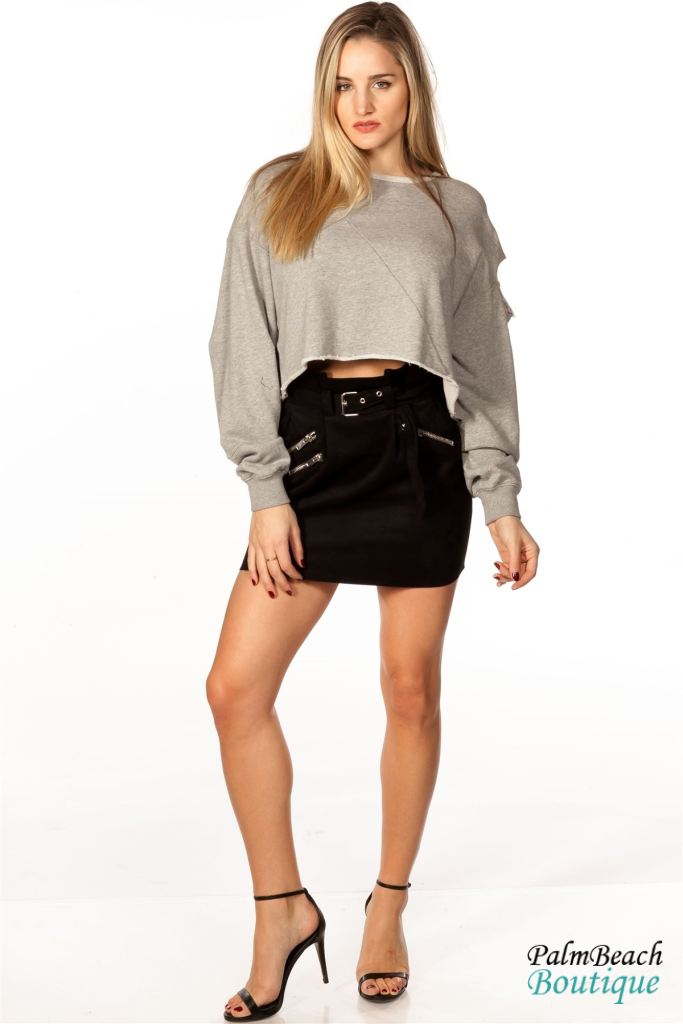 Distressed Crop Sweatshirt -Grey - Womens Tops