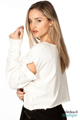 Distressed Crop Sweatshirt - White - Womens Tops