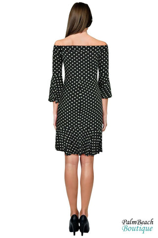 Dot Printed Off The Shoulder Dress - Dresses