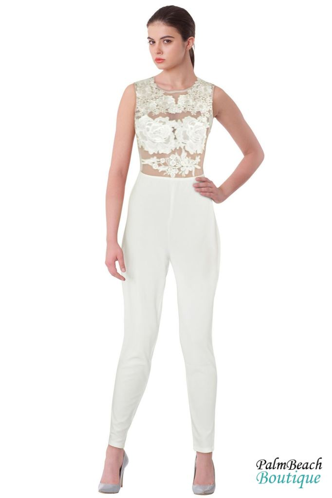 Embroidered Mesh Trim Zipper Jumpsuit - Womens Jumpsuits