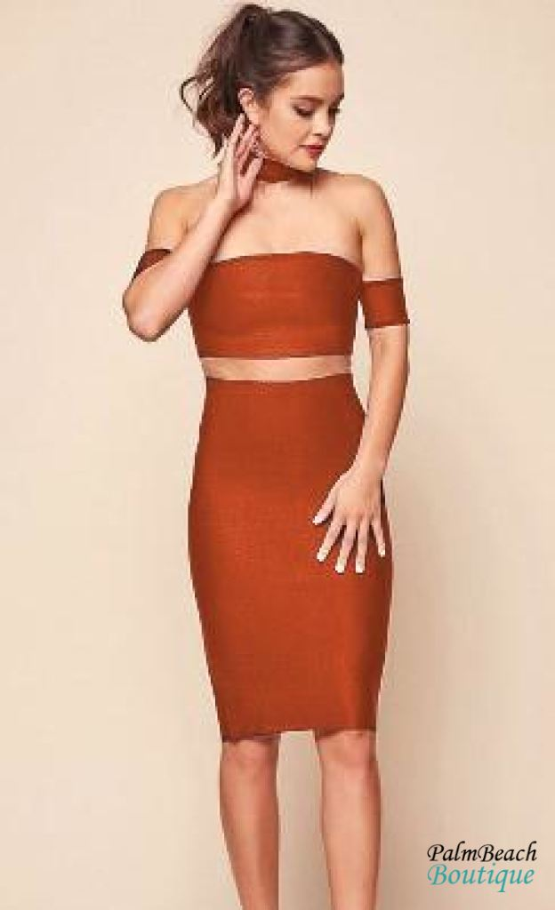 Exposed Midriff Bodycon Dress - Dresses